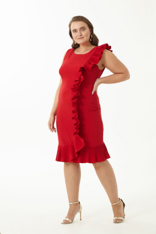 Red plus size sleeveless midi dress