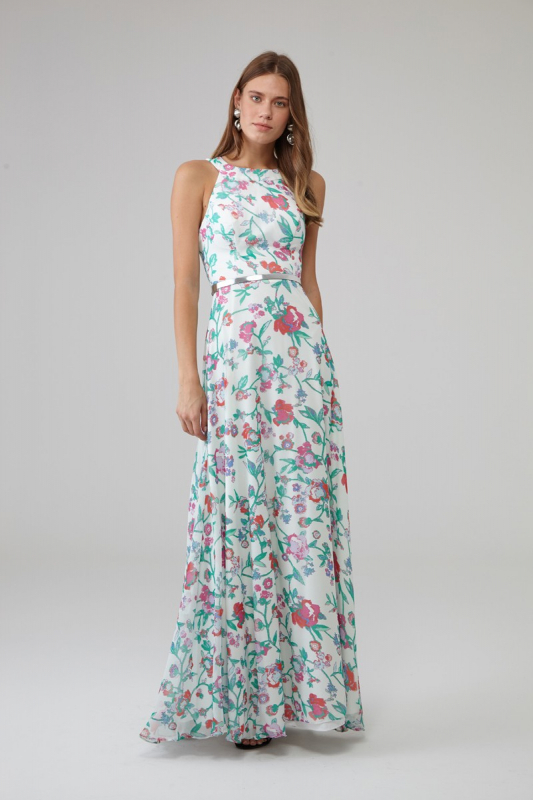 Mixed chiffon sleeveless maxi dress
