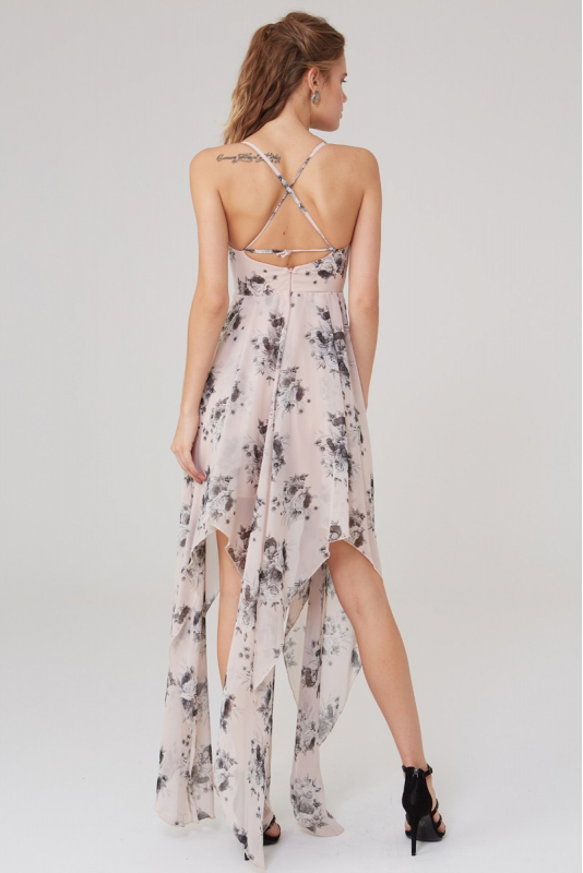 Print y27 chiffon sleeveless maxi dress