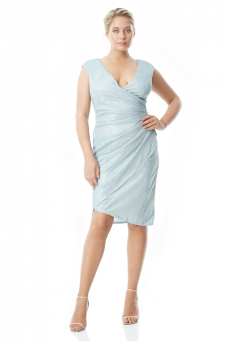 Blue plus size velvet 13 sleeveless mini dress