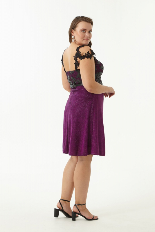 Purple plus size velvet 13 sleeveless mini dress
