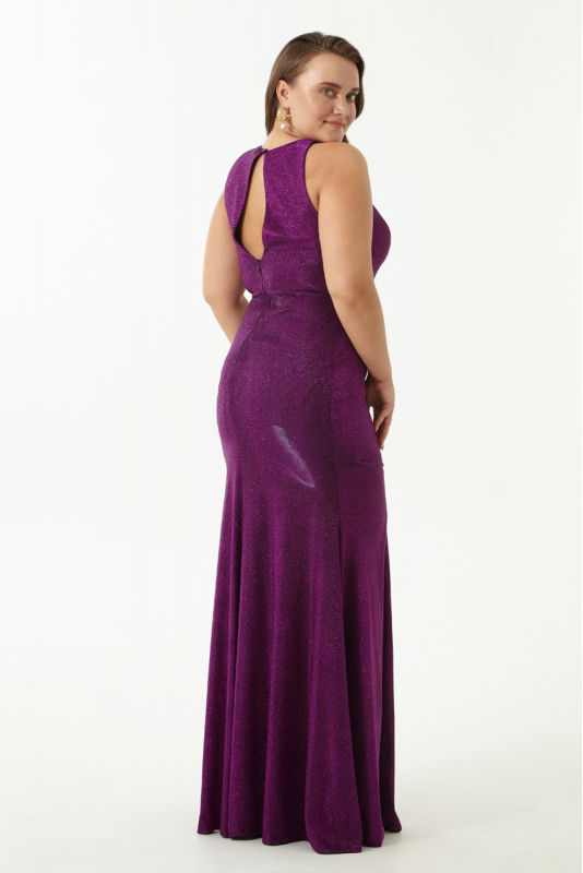 Purple plus size velvet 13 sleeveless maxi dress