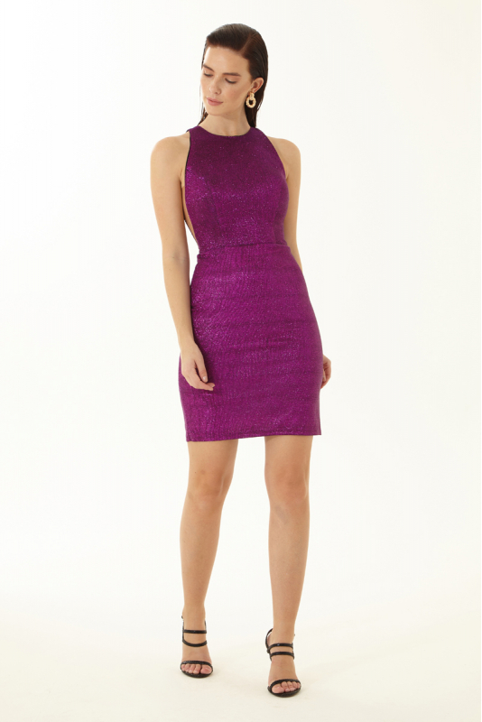 Purple velvet 13 sleeveless mini dress