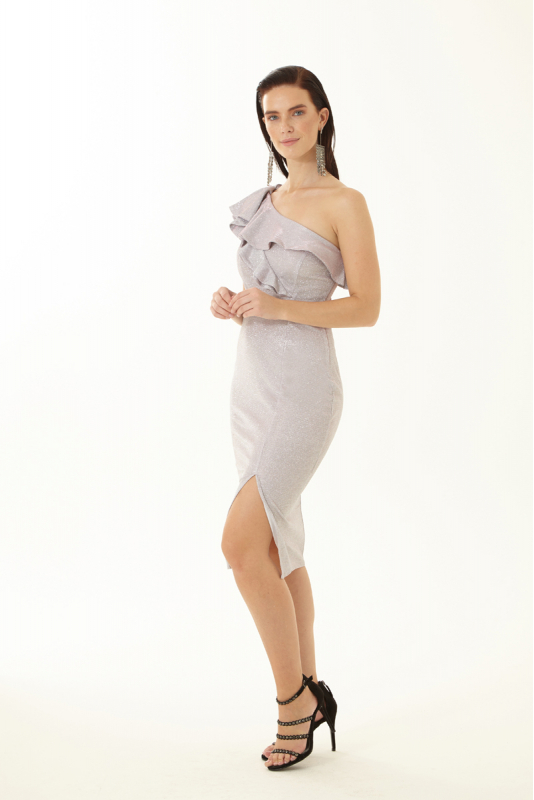 Powder velvet 13 sleeveless midi dress
