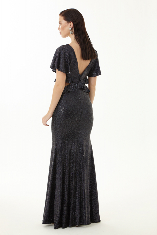 Black sequined short sleeve maxi dress