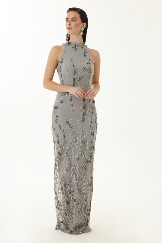 Grey sequined sleeveless maxi dress