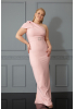 Powder plus size crepe single sleeve maxi dress