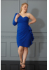Sax plus size crepe single sleeve mini dress
