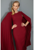 Claret red crepe long sleeve midi dress