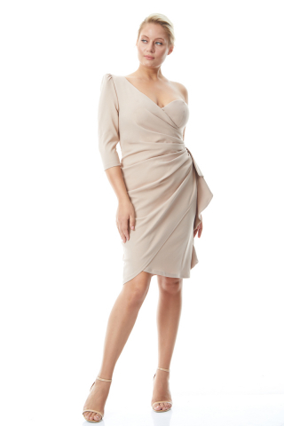Beige plus size crepe single sleeve mini dress