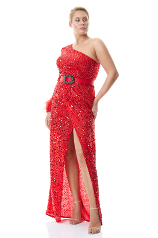 Red plus size sequined single sleeve maxi dress