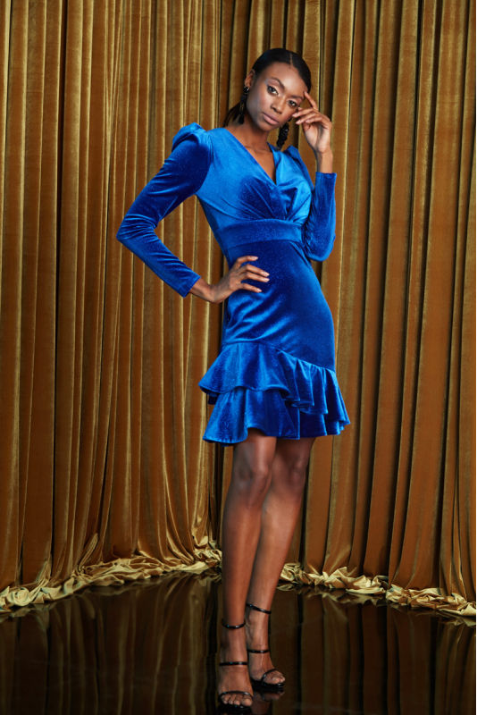 Sax velvet long sleeve mini dress