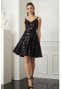 Black sequined crepe sleeveless mini dress