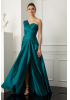 Green satin single sleeve maxi dress
