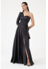 Black satin single sleeve maxi dress