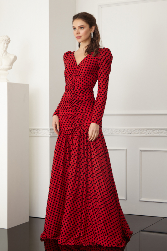 Red tulle long sleeve maxi dress