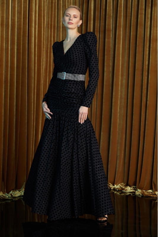 Black tulle long sleeve maxi dress