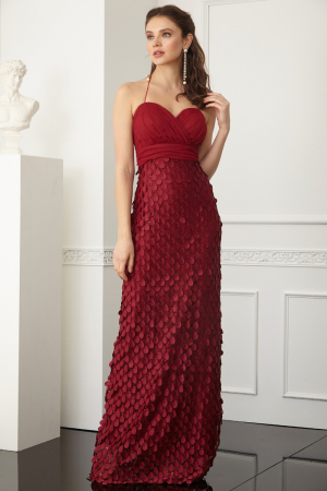 Claret red lace sleeveless maxi dress