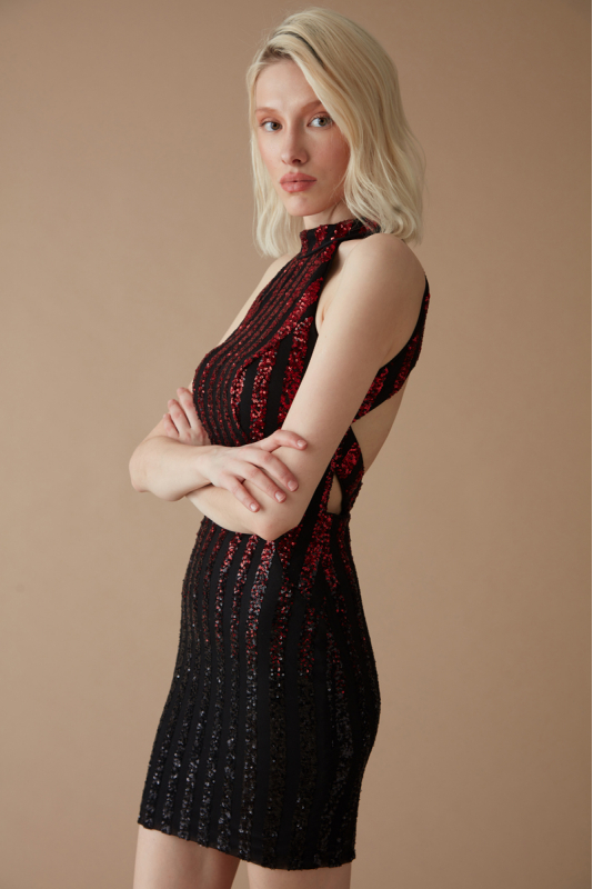 Red sequined sleeveless mini dress