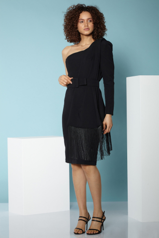 Black single sleeve midi dress