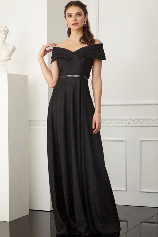Black velvet 13 short sleeve maxi dress