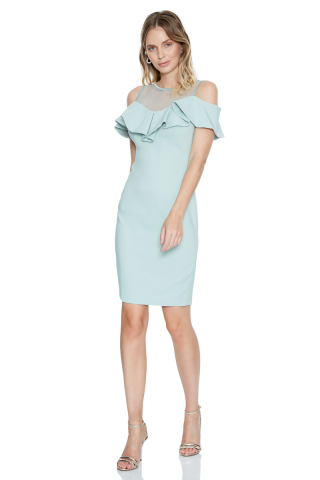 Mint green crepe sleeveless mini dress