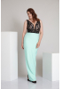 Water green plus size crepe sleeveless maxi dress