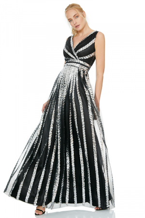 Silver sequined sleeveless maxi dress