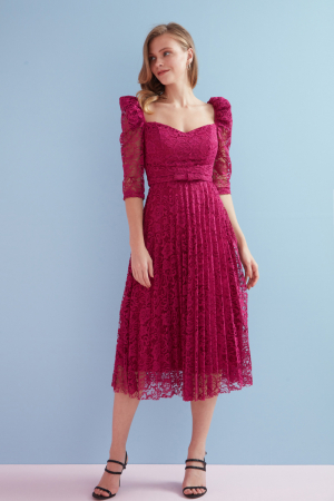 Fuchsia lace 3/4 sleeve midi dress