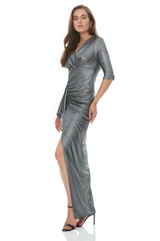 Silver velvet 13 short sleeve maxi dress