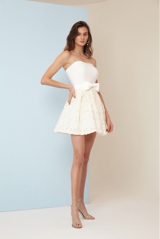 White crepe strapless mini dress