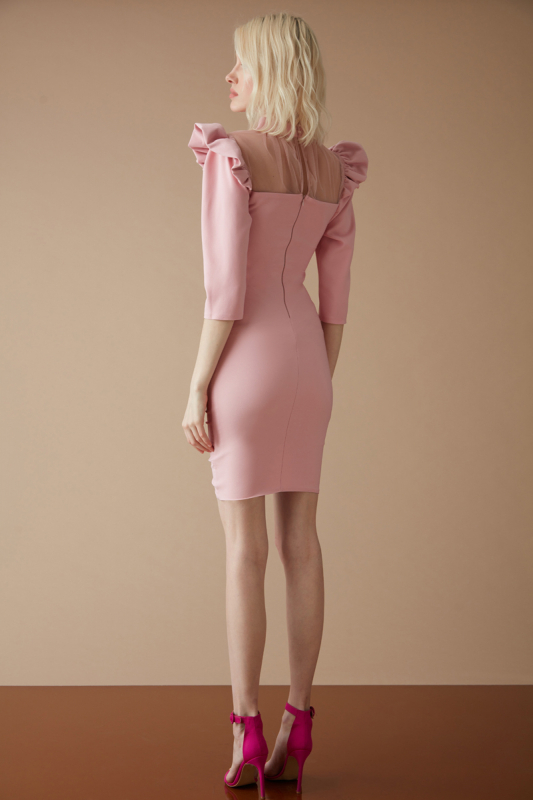 Powder crepe long sleeve mini dress