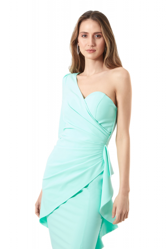 Water green crepe single sleeve maxi dress