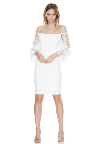 White crepe long sleeve midi dress