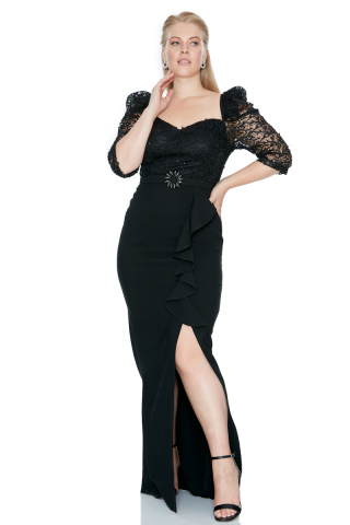 Black plus size 3/4 sleeve maxi dress