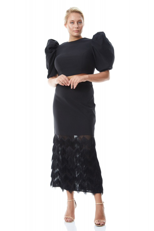 Black plus size crepe short sleeve midi dress