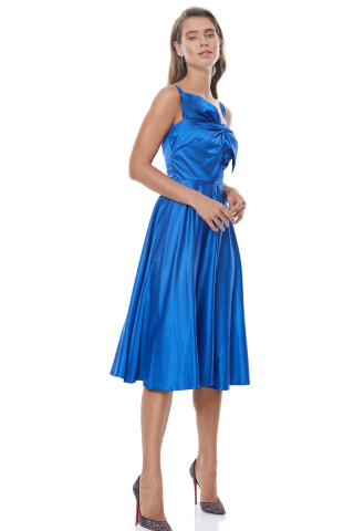 Sax satin sleeveless midi dress