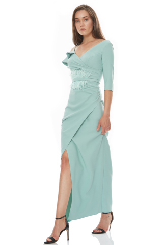 Mint green crepe short sleeve maxi dress