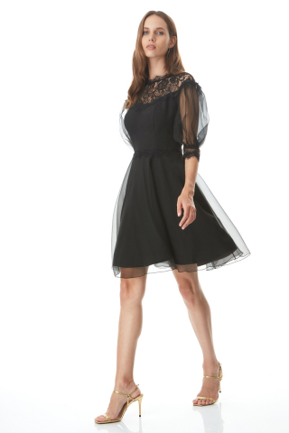 Black tulle short sleeve midi dress