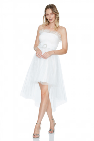 White tulle strapless midi dress
