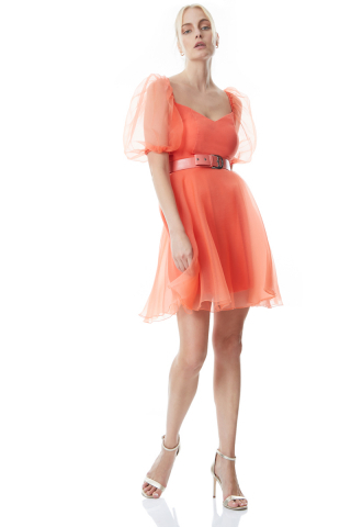 Coral tulle short sleeve midi dress