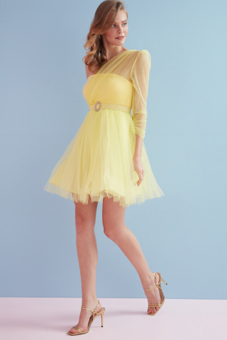 Yellow tulle single sleeve midi dress