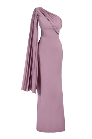 Lilac crepe single sleeve maxi dress