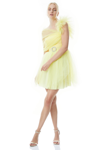 Yellow tulle sleeveless midi dress