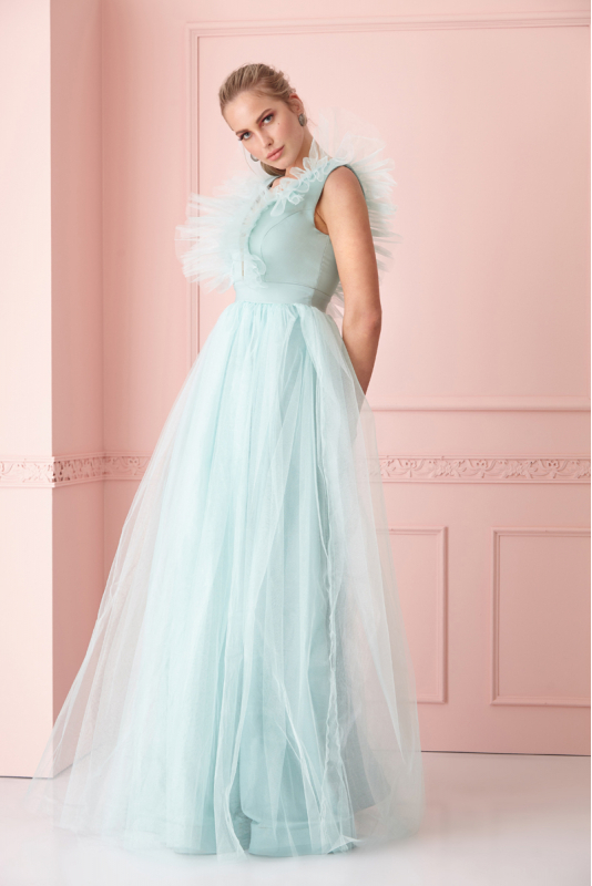 Mint green tulle sleeveless maxi dress