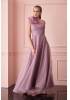 New powder pink tulle single sleeve maxi dress