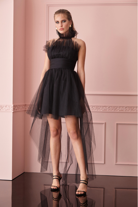 Black tulle sleeveless mini dress