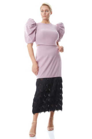 Lilac plus size crepe short sleeve midi dress