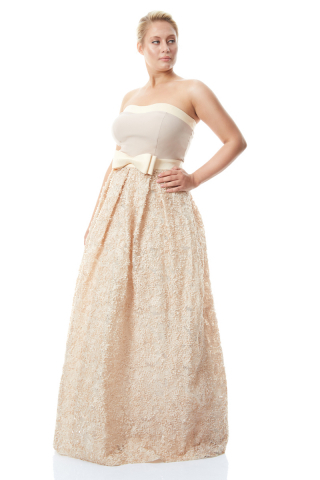 Beige plus size crepe strapless maxi dress