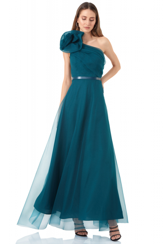 Green tulle single sleeve maxi dress